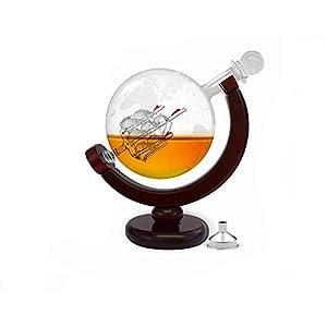 YSYDE Whisky Dekanter Set World Etched Globe Dekanter Antik Schiffsglas Stopper Gießtrichter Likörspender, Dekanter 850 ml mit Metalltrichter