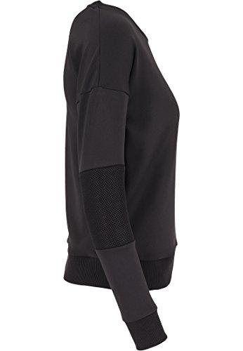 Urban Classics Damen Pullover Pullover Scuba Mesh Crew Schwarz