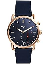 Fossil Q Commuter Herren-Hybrid-Smartwatch, Edelstahl und Leder, Farbe: Roségold-Ton, Blau Modell: FTW1154