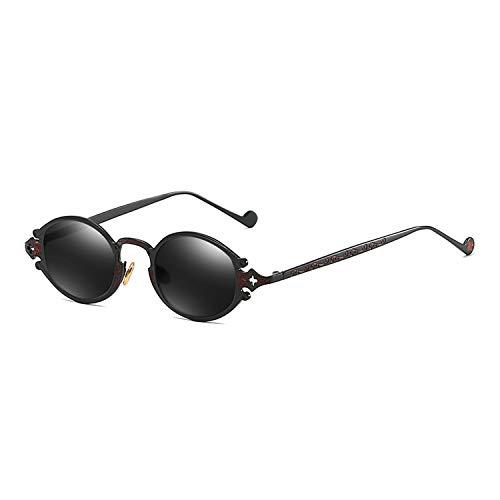 Sonnenbrille für Frauen-Street New Glasses Retro Steampunk Sonnenbrille Gothic Oval Frame Carved Sonnenbrille schwarz