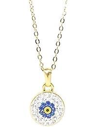 Malo vista collar cadena mal de ojo flores flor de imitación oro Nazar Boncuk