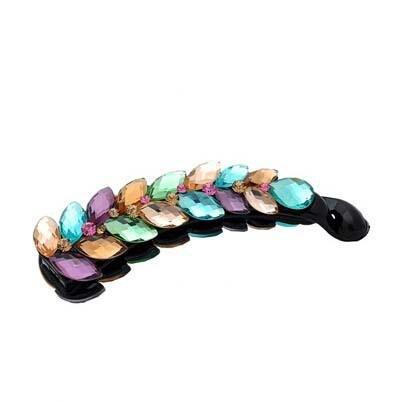 DUlijun cristal autrichien grands clips de bananes caractère clip vertical pince à cheveux pince queue de cheval color seven