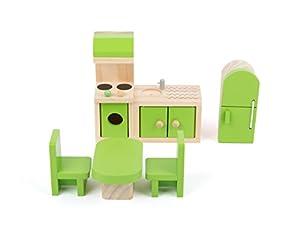 Small Foot 10873 casa de muñecas de Muebles de Madera, Incluye Frigorífico, Unidad de Cocina, Mesa y sillas, Apto para Doblar, Accesorio Ideal para muñecas para niños a Partir de 3 años