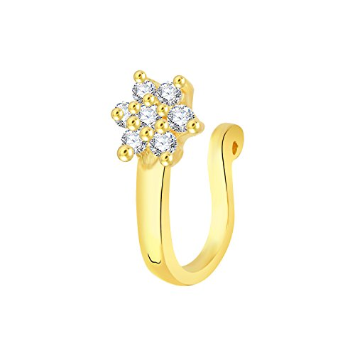 VK Jewels Gold Plated Alloy CZ American Diamond Pressing Nose Ring,Nose Pin for Women - [VKNR1010G]  available at amazon for Rs.159