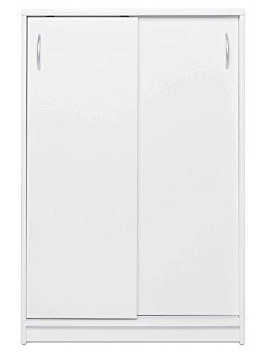 AVANTI TRENDSTORE - Keran - Comó con Ante scorrevoli e 2 Ripiani Interni, in Legno Laminato, Disponibile in 2 Diversi Colori. Dimensioni Lap 74x111x39 cm (Bianco)