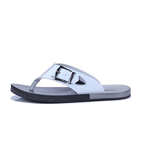 TXHLKD Hausschuhe Hohe Qualität Handarbeit Aus Echtem Leder Sommer Schuhe Mode Männer Strand Sandalen Flip Flops 11 Weiß - 11 Sandalen Männer Für