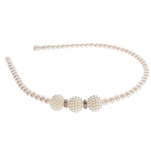 JUSTFOX – Luxus Perlen Strass Haarreif Hochzeit Kommunion Haarschmuck weiß