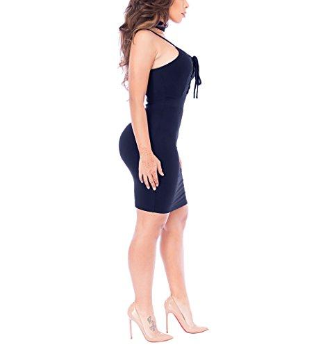 CoCo fashion - Robe - Moulante - Sans Manche - Femme Bleu Marine