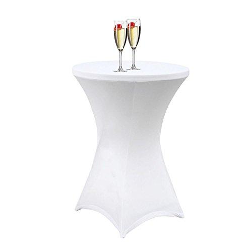 NOVESTE Stretch Stehtischhusse Husse Tischhusse für Stehtisch Bistrotisch Weiß, 60cm x 120cm(D X H)