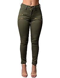 Blansdi Damen Mädchen Frauen Frühling Sommer Hohe Taille Distressed Ripped  Jeans Boyfriend Dünn Denim Hose Stretch ac4b0ef500