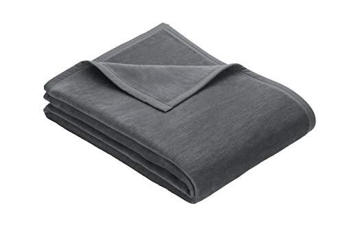 Ibena Kuscheldecke/Tagesdecke/Wolldecke/Wohndecke grau 150x200 cm, besonders flauschig weich und angenehm warm, Baumwollmischung in hervorragender Qualität in vielen Größen erhältlich