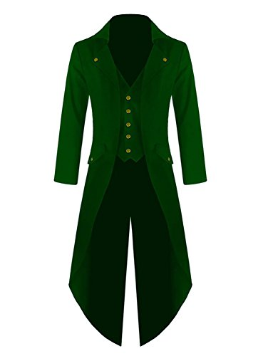 Hestenve Herren Gothic Tailcoat Steampunk VTG Kostüm Viktorianischer Langer Trenchcoat - Grün - XX-Large (Junior Trenchcoat)