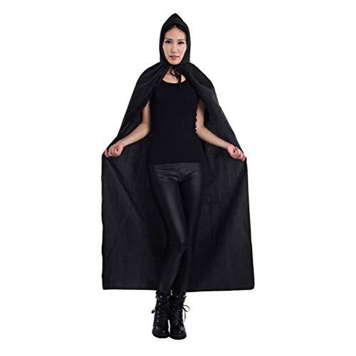 Zhhlinyuan Schwarz Vampir Mantel für Halloween - Hexe Robe Cape Party Festival Cosplay Kostüm für Mädchen Jungen Erwachsene