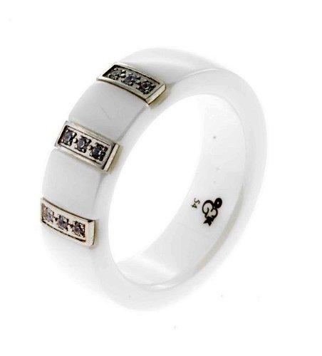 Keramik Edelstahl Ring 60-442101 Fingerring Größe 54