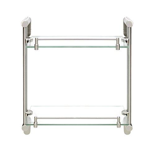 Modona doppio ripiano in vetro con rail-nickel