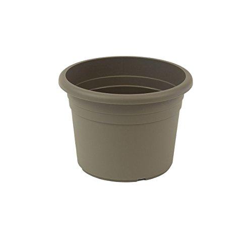 greemotion Pot de fleurs rond en plastique Ø 40cm 18L - Pot pour plantes extérieures et intérieures - Pot de jardin couleur taupe