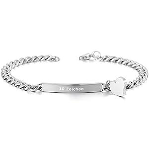 MeMeDIY Edelstahl Armband Link Herz Polished Gravur