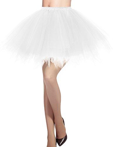 Dresstells Damen Tüllrock 50er Rockabilly Petticoat Tutu Unterrock Kurz Ballett Tanzkleid Ballkleid Abendkleid Gelegenheit Zubehör White S