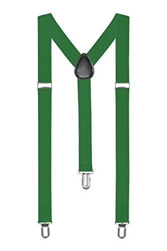 Autiga® Hosenträger Herren Damen Hosen Träger Y Form Style Clips Schmal Neon Bunt Farbig grün (Aus Hose Hosenträger)