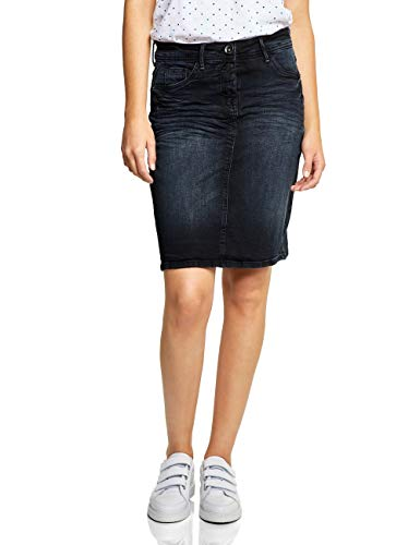Cecil Damen 360347 Rock, Blue/Black Used wash, X-Small (Herstellergröße: 27) - Damen Crinkle-röcke-a-linie Rock