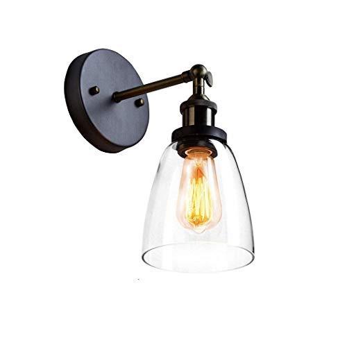 CLAXY Vintage Cristal E27 Lámpara de Pared Retro Φ14cm Vidrio Aplique Nostálgica Decoración