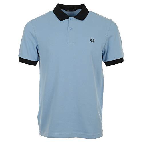 Fred Perry Colour Block Pique Shirt in Sky Medium -