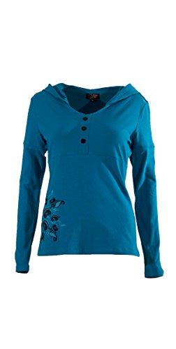 Coline - Tee shirt femme à capuche Bleu