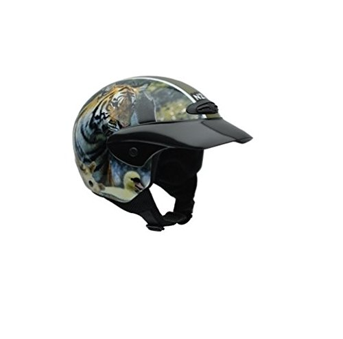 NZI 050269G712 Helix Jr Graphics Wild Life Motorcycle Helmet, Tiger and Wolf Design, Size 52-53 (L)