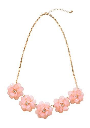 Happiness Boutique Damen Statement Kette mit Blumen in Pastell Pink | Kette in Gold mit Floralen Motiven (Kostüme Hippie Inspirierte)