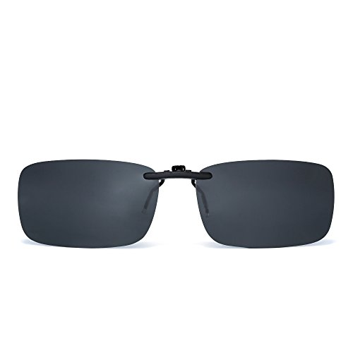 JM Sin marco Rectángulo Clip en Gafas de Sol Ligero Peso Polarizadas Anteojos Hombre Mujer(Gris Polarizado)