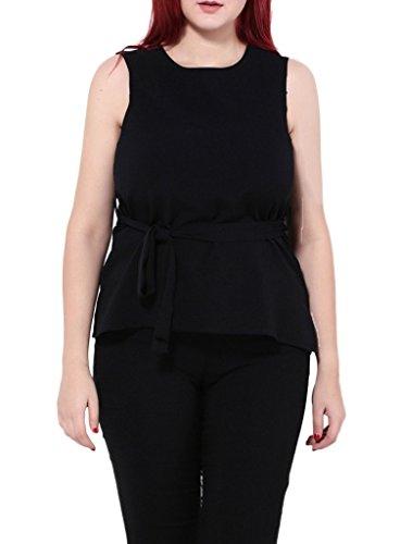 Smile YKK Femme Plus Size Débardeurs Chiffon Uni Elastique Mode Slim Tops Peplum T-shirt Noir