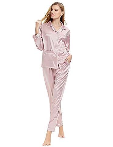 Aibrou Femmes Ensemble pyjama en satin Manche longue Vêtements de nuit pour toutes les saisons