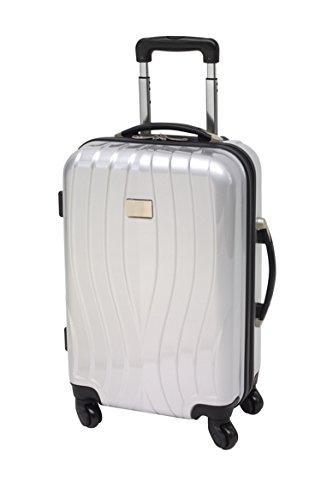 Handgepäck Tropez Silber Reisekoffer 55 x 40 x 20 cm Hartschalenkoffer 2,8 kg Reisetrolley silber Boardcase Polycarbonat ABS-Materialmix