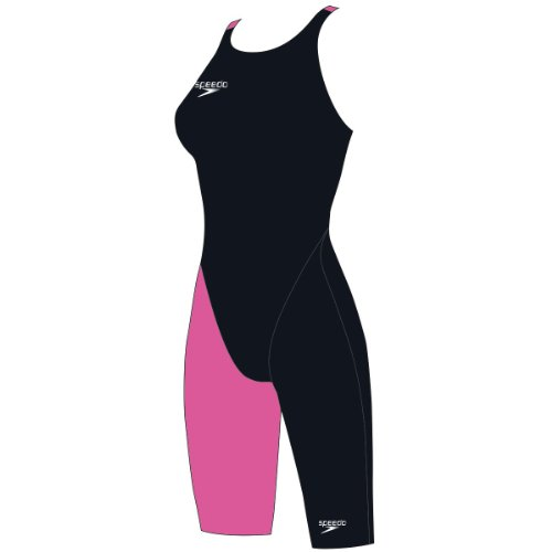 SPEEDO Fastskin LZR Racer Elite 2 Openback Kneeskin Costume da Nuoto Donna, Nero/Rosa, 69cm