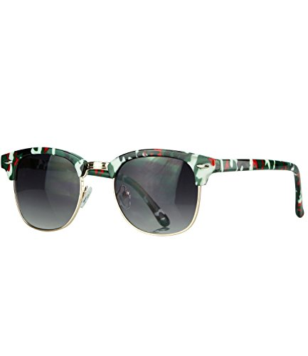 Caripe Retro Sonnenbrille Vintage 50er 60er 80er Damen Herren Halbrahmen Verspiegelt - clu2 (tarn bunt - smoke getönt)