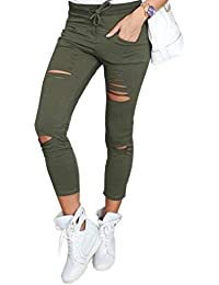 Mujeres Pantalón Moda Skinny Largo Pantalones con Vendajes Chic Roto  Agujero Lápiz Pants Leggings 05e8192c623