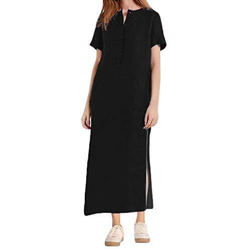 QIMANZI Kleider Damen Sommer KurzarmV-Ausschnitt Jahrgang Bettwäsche aus Baumwolle Beiläufig Lange Maxikleid(Schwarz,XL) -