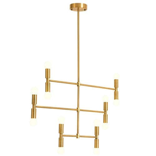 Xiao Yun ☞ * 12-Light Sputnik Kronleuchter, Goldene Moderne Einfache einstellbare Mitte Jahrhundert Deckenleuchte für Wohnzimmer Schlafzimmer Küche Beleuchtung Pendelleuchte ☜ - Stahl Zwölf Light Kronleuchter