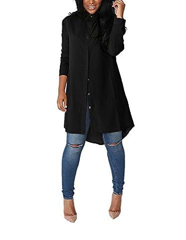 Yidarton Damen Hemdkleid V-Ausschnitt Button Chiffon Langarm Slim Casual Blusenkleid Minikleid Bluse Tops (Large, Schwarz)