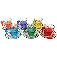 """Set of 6 coffee cups with saucers""""Casablanca"""" Multicolor Hand-painted glass Murano Style Venezia"""
