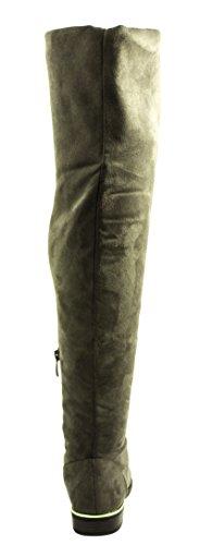 Elara Damen Stiefel | Bequeme Langschaft Overknees | Blockabsatz Wildlederoptik Grün Marseille