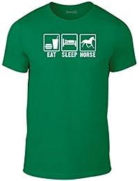 Brand88, Eat Sleep Horse, Erwachsene Mode T-Shirt