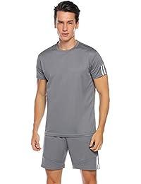 13d9a60ae808a Hawiton Survêtement Hommes Été Ensembles de Sport Rayé Tenue de Sport  T-Shirt Manche Courte