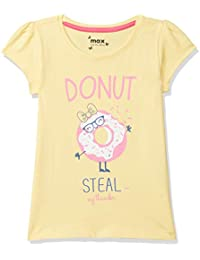 Max Girl's Plain Regular fit T-Shirt (S20CBT22YELLOW_Yellow 7-8Y)
