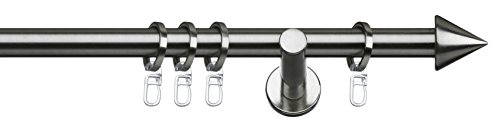 Tilldekor Gardinenstange PALMA, edelstahl optik, Ø 20 mm, 1-Lauf, 240 cm, inkl. Trägern und Ringen
