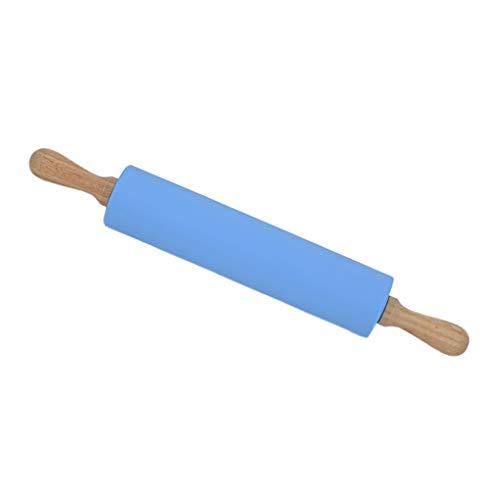 F-blue Madera Mango Rodillo Silicona Antiadherente