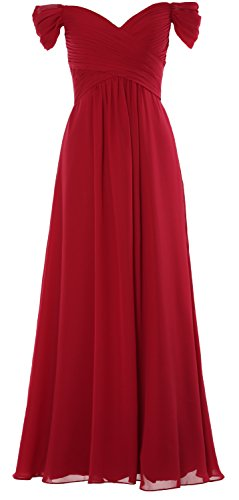MACloth Women Off the Shoulder Long Prom Dress Chiffon Wedding Party Formal Gown (42, Burgunderrot)