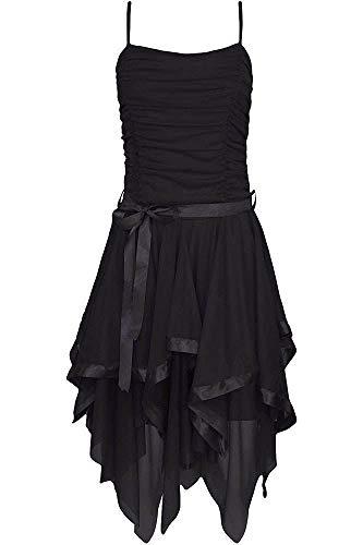 Espania Trading EST Frauen Kleid Plain Zickzack Chiffon Prom Party Saum Mit Rüschen Gürtel Tie (SCHWARZ(BLACK), EINHEITSGRÖSSE) Plain Black Tie