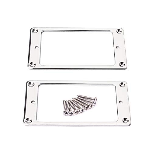 SUPVOX 2 Flat Metal Parts Chrome Plated Humbucker Pickup Rings Flat Base Mount Frame with Screws 92x46mm (Silver)
