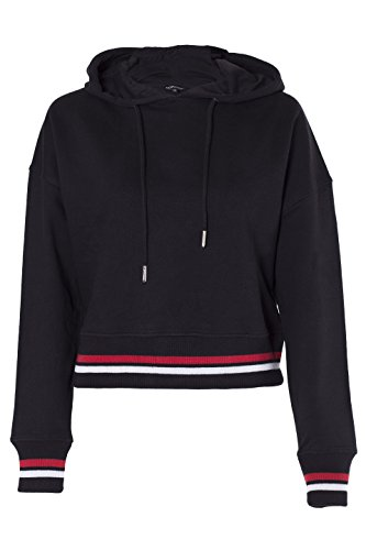 NOROZE Damen kurzen sackartig Pullover Kapuzenpullover Farbige Streifen gerippten Saum & Manschetten Kapuzenpulli Kapuzen-Sweatshirt (42, Schwarz)